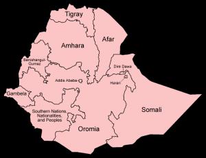 Map of Ethiopia REgions